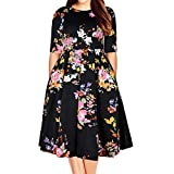 Samtree Women's Plus Size Floral 3/4 Sleeve Backless Cocktail Party Swing Dress(UK 20(US 16 Plus),Black Floral)