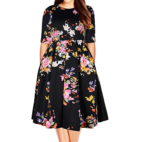 Samtree Women's Plus Size Floral 3/4 Sleeve Backless Cocktail Party Swing Dress(Tag Size 7XL(US 22 W),Black -
