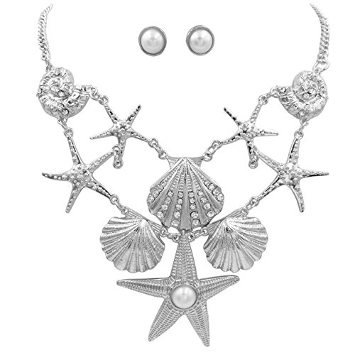Gypsy Jewels Mixed Sealife Nautical Boutique Textured Statement Necklace & Earrings Set (Starfish & Seashell Silver ()