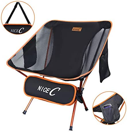 Nice C Ultralight Portable Folding Camping Backpacking Chair Compact Heavy Duty Outdoor, Camping, BBQ, Beach, Travel, Picnic, Festival with 2 Storage Bags Carry Bag