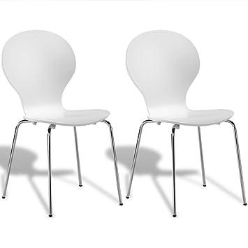 vidaXL 2X Sillas de Salón Comedor Apilables Blancas de Madera y Patas de Acero