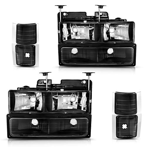 Headlight Assembly Kit for Chevy C/K Series 1500 2500 3500 / Chevy Tahoe/Chevy Suburban/Chevy Silverado Headlamps Replacement w/Corner & Bumper Black Housing Clear Lens