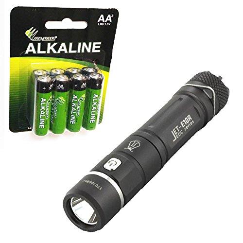 Jetbeam E10R CREE XP-L HI LED AA Rechargeable Flashlight -650 Lumens w/8x Eco-Sensa Premium AA Batteries