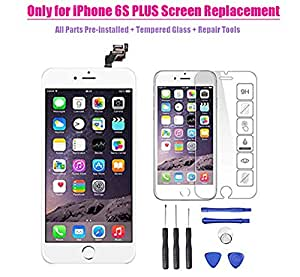 Only for iPhone 6S PLUS LCD Screen Touch Digitizer Full assembly Replacement with 3D Touch Panel, Home Button, Front Camera, Ear Speaker, Repair Tools, Not fit for iPhone 6 plus or iPhone 6 (White)