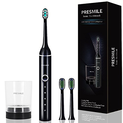 Electric Toothbrush, Presmile Sonic Electric Toothbrush|Electric Power Rechargeable Toothbrush with Automatic Timer|Wireless Inductive Charging|5 Cleaning Modes *Plaque Control with Gum Health, black