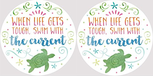 When Life Gets Tough Swim With Current Sea Turtle Car Coasters Set of 2