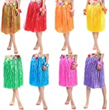 HLJgift Adults Flowered Luau Hula Skirts With Costume Set Pack of 8,Assorted Colors