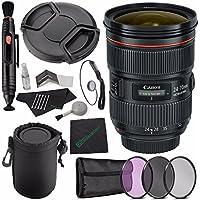 Canon EF 24-70mm f/2.8L II USM Lens + 82mm 3 Piece Filter Set (UV, CPL, FL) + LENS CAP 82MM + SLR Lens Pouch + Lens Pen Cleaner + Microfiber Cleaning Cloth + Lens Cap Keeper Bundle