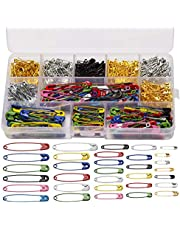 LUTER 500 Pieces 7 Sizes Large and Small Safety Pins Assorted 19mm 22mm 28mm 32mm 36mm 45mm 50mm for Art Craft Sewing Jewelry Making Home Office Use(Gold Silver Black Multicolor)
