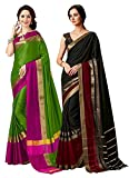 ELINA FASHION Pack Two Sarees Indian Women Cotton Art Silk Printed Weaving Border Saree (Multi 1)