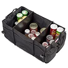3 Sections Auto Trunk Organizer, EZOWare Cargo Trunk Collapsable Storage Container for Minivan, Vans, Cars, SUV Rear or Backseat - Black