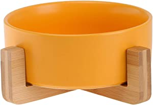 Ceramic Elevated Cat Bowl - No Spill Pet Bowl,Raised Double Food and Water Bowl Set for Cats and Small Medium Dogs with Wood Stand,28 Ounces. Yellow
