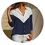 Women Blouses Long Sleeve Turn Down Collar Office Chiffon Blouse Casual Tops Plus Size,Navy Blue,XXXL