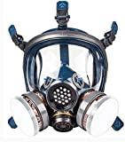Organic Vapor Respirator full face gas mask with Double Activated Carbon Air Filter...