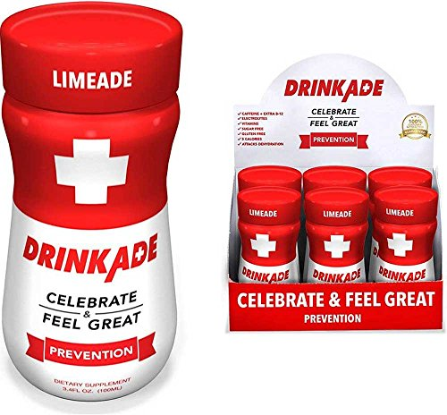 Cheap DrinkAde Prevention (6 Pack/3.4oz Bottles) – Previously Never Too Hungover with Electrolytes, B Vitamins, Milk Thistle, Green Tea Extract – Only 5 Calories.