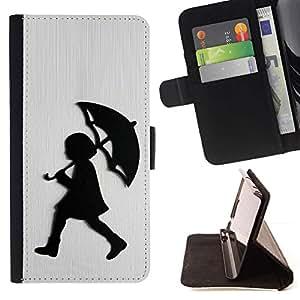 Momo Phone Case / Flip Funda de Cuero Case Cover - Chica Lluvia Blanca metal cepillado - Huawei Ascend P8 (Not for P8 Lite)