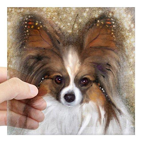 CafePress Butterfly Ears Papillon Square Sticker 3 X 3 Square Bumper Sticker Car Decal, 3