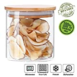 Glass Storage Jar Airtight Container with Bamboo Lid, Kitchen Canisters Coffee Bean Dry Food Organizer (500ml/17oz)