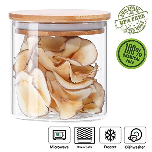 Glass Storage Jar Airtight Container with Bamboo Lid, Kitchen Canisters Coffee Bean Dry Food Organizer (500ml/17oz) by Anleolife