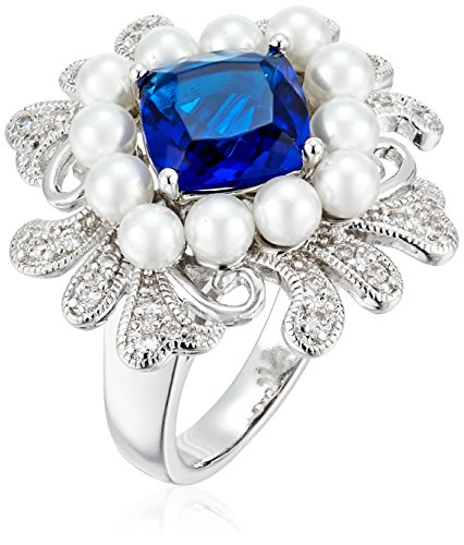 Fine Silver Plated Bronze Square Sapphire Blue Glass and Simulated Pearl Vintage Inspired Cocktail Ring (Sapphire Ring Floral Inspired)