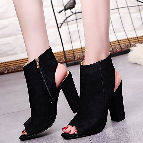 Rawdah Fashion Women Fashion Suede Solid Color Suede Fish Mouth Slope With Coarse Peep Toe Wedges High Heeled Shoes Sandals Spring Autumn Black 9Vletv