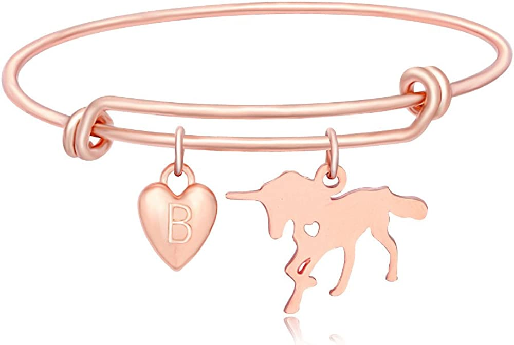 TUSHUO Simple Rose Gold-Plated Bracelet with Hollow 26 Letters Cute Elephant Pendant Bangle Jewelry