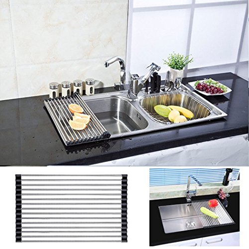 roll up drying rack stainless steel foldable over sink rack black new. Black Bedroom Furniture Sets. Home Design Ideas