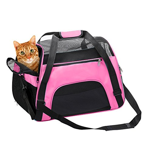 Pink Dog Carrier - Donyer Airline Approved Soft Sided Pet Carrier, Low Profile Travel Tote, Premium Zippers Under Seat Compatibility, 2 Openings, Shoulder Strap For Travel, Perfect for Cats and Small Dogs, Pink