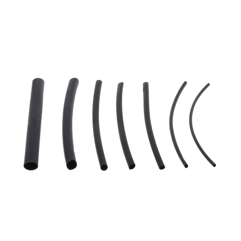 watersouprty 70Pcs 1mm 2mm 2.5mm 3mm 4mm 5mm 6mm Heat Shrink Heat Shrinkable Sleeving Black