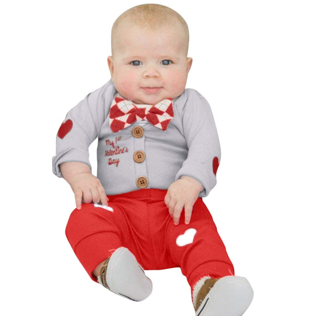 NUWFOR Valentine's Toddler Baby Bowknot Romper Tops+Letter Gentleman Jumpsuit+Pants Set (White,3-6 Months)