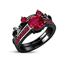 1.5ct Ruby & CZ Diamond 14K Black Rhodium Over Alloy Classic Look Mickey Mouse Engagement Ring Bridal Set For Women's Jewelry