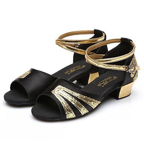HROYL Mädchen Tanzschuhe/Latin Dance Schuhe Satin Ballsaal Modell-DS-209 Schwarz