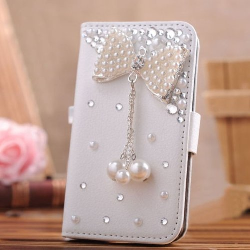 Galaxy S5 Case - EVTECH 3D Handmade Bling Crystal Luxury Shiny Sparkling Wallet Leather With Card Holder for Samsung Galaxy S5 I9600
