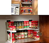 SMYTShop 2-Tier Corner Storage Organizer Shelf Kitchen Spice Rack,Makeup Cosmetics Counter Organizing Stand,Bathroom Organizer with Extra-Sturdy Construction Adjustable