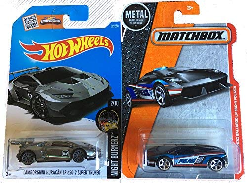 (Hot Wheels 2016 HW Lamborghini Huracan LP 620-2 Super Trofeo & Matchbox Lamborghini Gallardo LP 560-4 Polizia 2-Car Bundle Set )