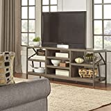 Rustic Lincoln Metal Accent Storage Media Console Sofa Table TV Stand Brown Finish
