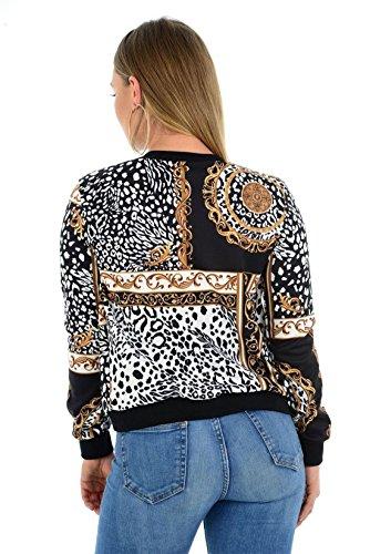 Leopard Scarf Fashions M Scarf Bomber Zip Print Larga Jacket L Leopard Print S Top Manga Islander Baroque Mujeres Ladies danFWFqT
