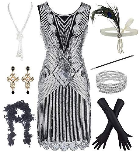 1920s Vintage Flapper Beaded Gatsby Party Dress w 20s Accessories Set (XL, Black-Silver) ()