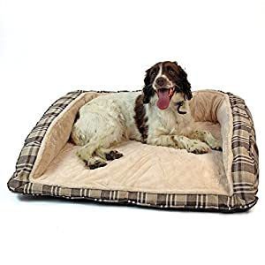 Easipet Deluxe Orthopaedic Soft Dog Sofa Bed in Tan Plaid 12