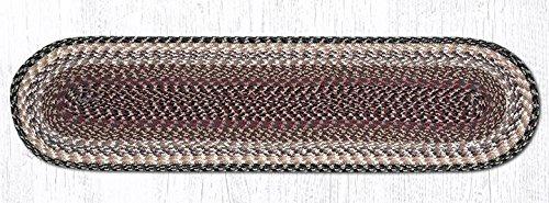 Earth Rugs 44-057 Burgundy-Gray-Creme Oval Table Runner