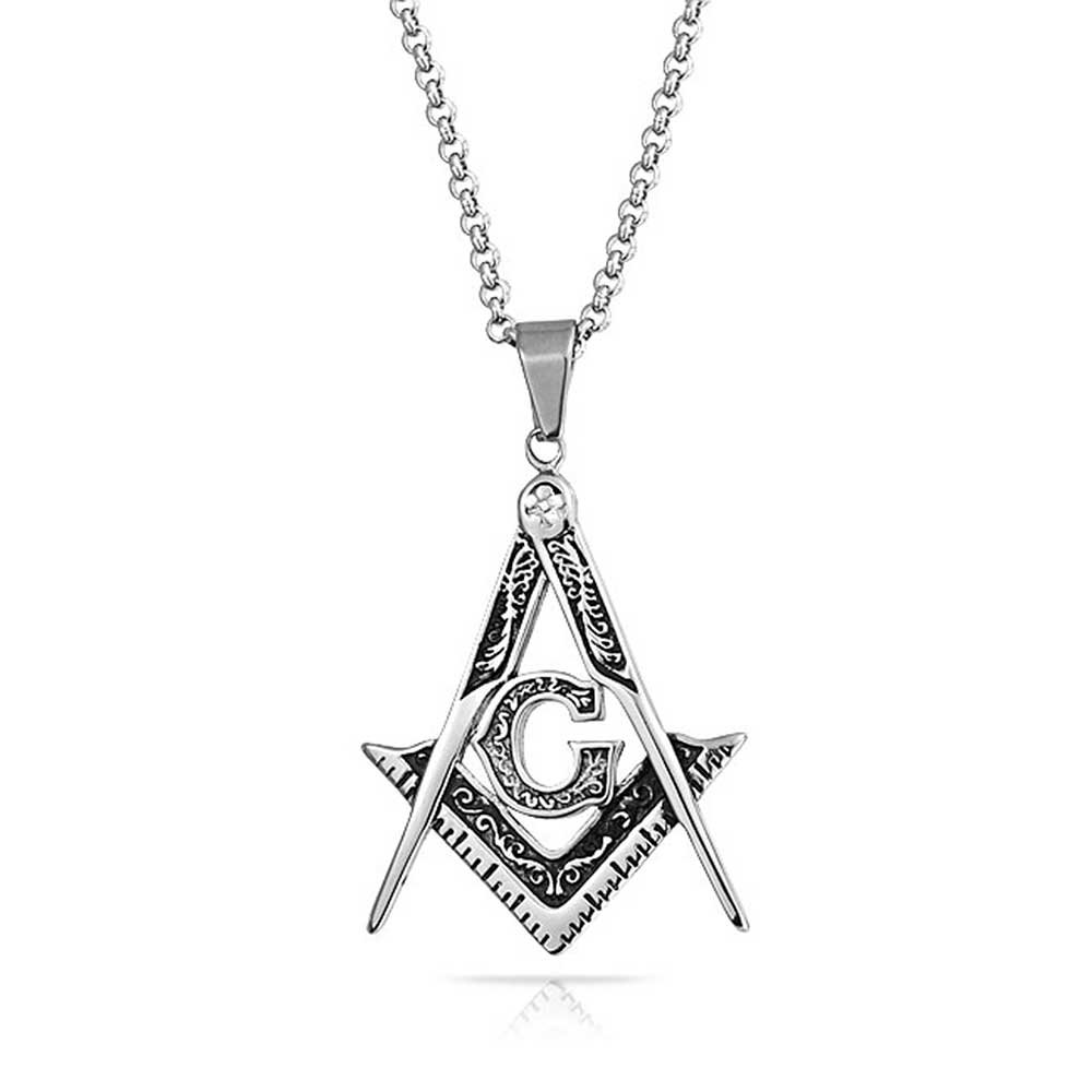 ae82b2ad6 Bling Jewelry Black Freemason Compass Masonic Dog Tag Pendant Necklace for  Men Silver Tone Stainless Steel with Bead Chain | Amazon.com