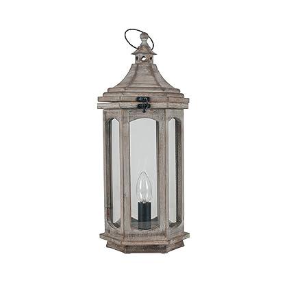 Melody Maison Antique Wooden Lantern Style Table Lamp Amazon Co Uk