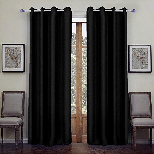 songmics lot de 2 rideaux occultant illets 145 x 245 cm noir lrb245h 2 int rieur maison. Black Bedroom Furniture Sets. Home Design Ideas
