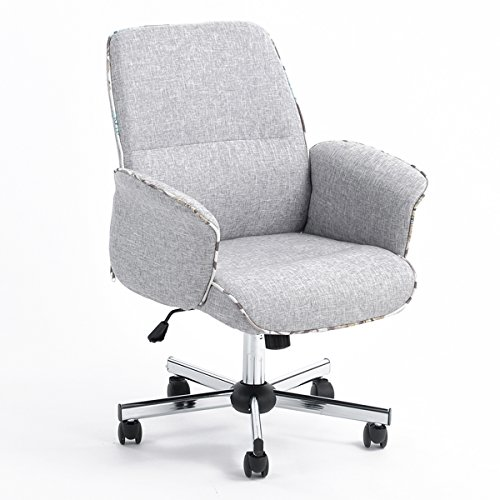Home Office Chair Height Adjustable Task Chair Fabric Leisure Grey Computer Chair With Arms (Chair Fabric White Office)