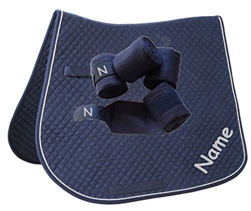 Schabracke mit WUNSCHNAME und passenden Bandagen Dressur oder Vielseitigkeit (Blau, VS mit Bandagen)