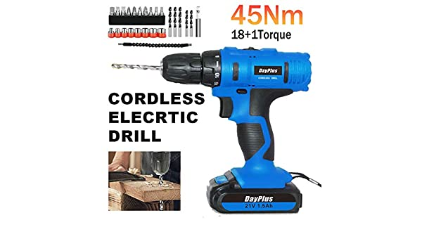 LED Light 21V 1500mAh Battery 45Nm of Max Torque with Variable Speed Trigger Cordless Drill Driver and 29 Piece Driver Bit Accessories in Storage Case