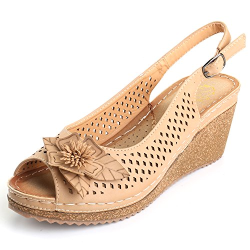 (Alexis Leroy Women's Peep Toe Hollow Out Slingback Platform Wedge Sandals Apricot 6-6.5 M US)