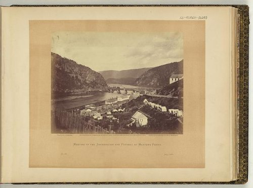 Photo: Meeting of the Shenandoah, Potomac at Harpers Ferry, West Virginia, WV, 1865, rivers . Size: