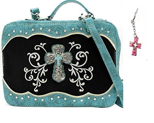 HW Messenger Strap Turquoise Cross Bible Book Case Cover Earrings (BLUE)