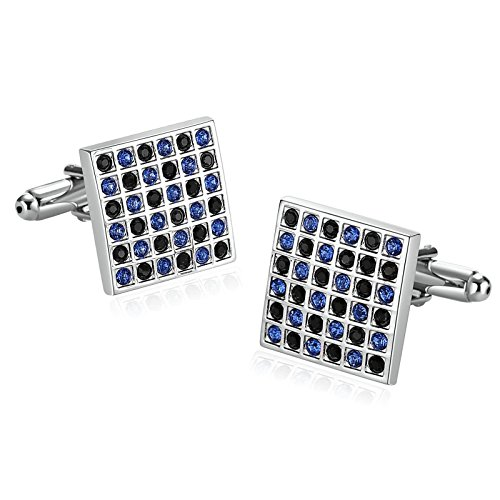 MoAndy Stainless Steel Cuff Links for Mens Square Lattice for sale  Delivered anywhere in USA